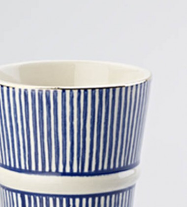 LATTE MUG THIN STRIPE BLUE