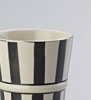 LATTE MUG WIDE STRIPE BLACK