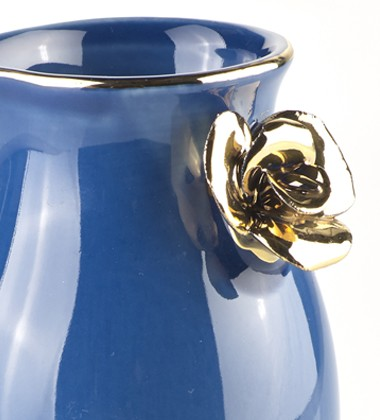 DECANTER WITH ROSE DARK BLUE