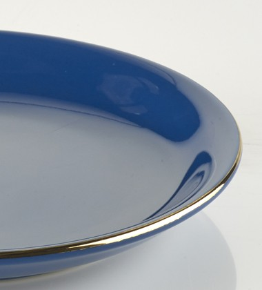 SMALL PLATES WITH GOLD EDGE DARK BLUE