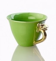 TEACUP WITH ROSE GREEN