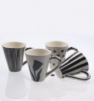 COFFEE CUP PAINTED PATTERN BLACK/PLATINA WITHOUT PLATES 4PACK