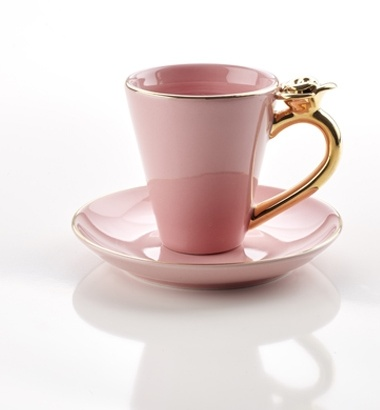 COFFEE CUP WITH ROSE PINK 4PACK WITH PLATES